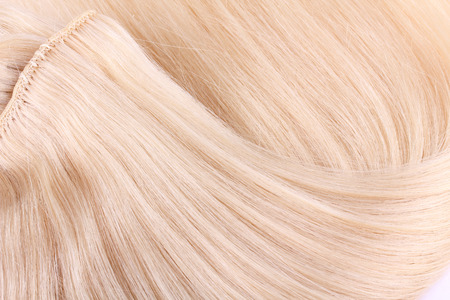 extension: Blond hair extension, macro