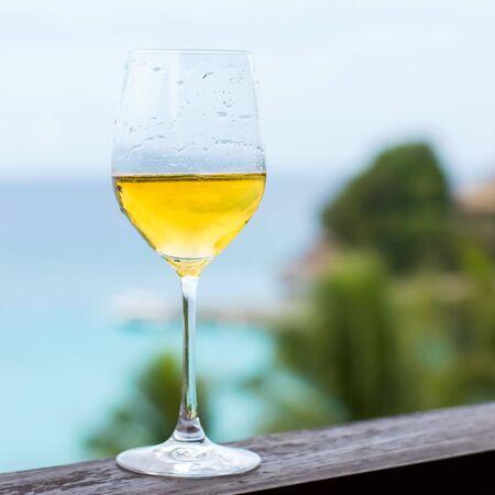 baranda para balcon: Vaso de vino blanco en la barandilla del balcón, vista Tropical