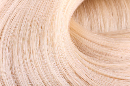cabello rubio: Extensión del pelo rubio, macro Foto de archivo