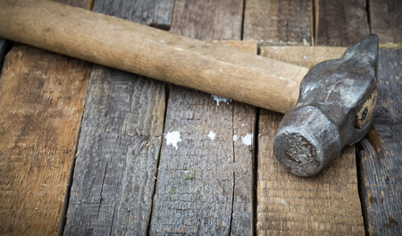 bar tool set: Hammer on a wooden background with copy space
