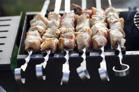 carne roja: Brocheta de marinado de carne roja cruda, carne de cerdo barbacoa y shashlik de cordero Shish Kebab Foto de archivo