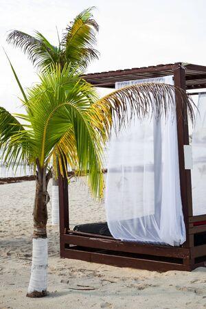 gazebo: Modern wooden beach gazebo pavilion closeup