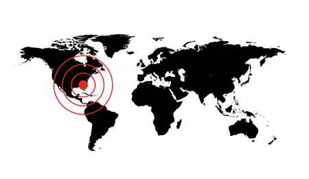 occurrence: Dangerous occurrence in Florida. World map illustration with red cirles accident sign