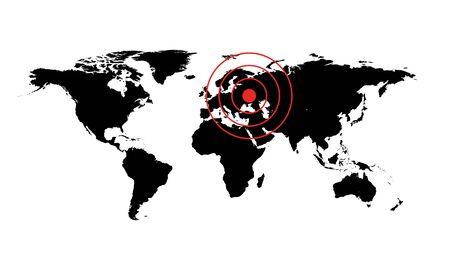 worldmap: Dangerous occurrence in Ukraine. World map illustration with red cirles accident sign Stock Photo