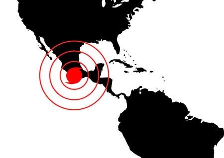 quake: Dangerous occurrence in Mexico. World map illustration with red accident sign