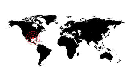 occurrence: Dangerous occurrence in New Orlean. World map illustration with red cirles accident sign Stock Photo