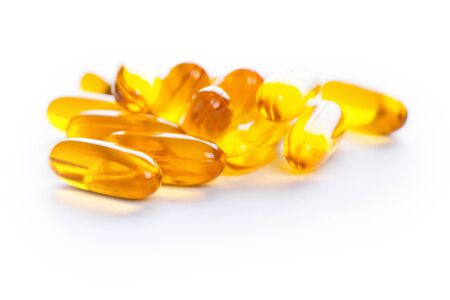 gels: Soft gels pills with Omega-3 oil on white
