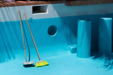 Cleaning tools for swimming pool. Maintenance process Zdjęcie Seryjne