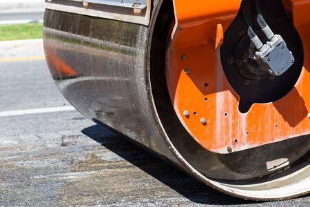 Detail of steamroller during road construction. Asphalt pavement works