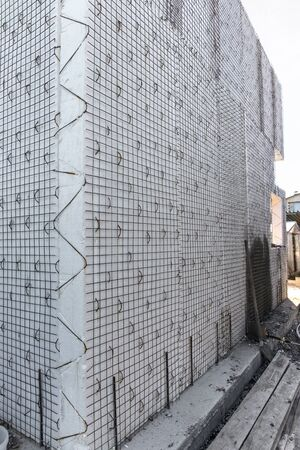 Construction of building. Modern plastic foam module engineering