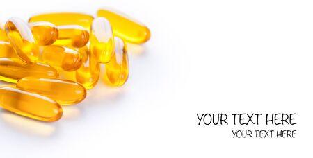 omega3: Soft gels pills with Omega-3 oil on white
