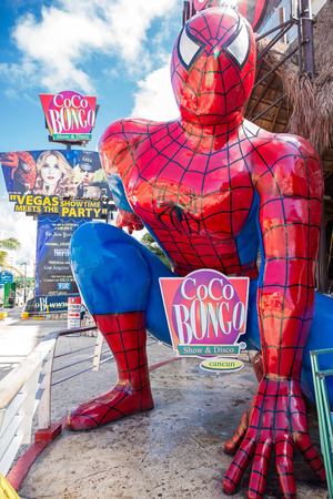 spider man: CANCUN, MEXICO - 29 October  2015: Coco Bongo Club entrance with dummy of Spider Man at Zona Hotelera