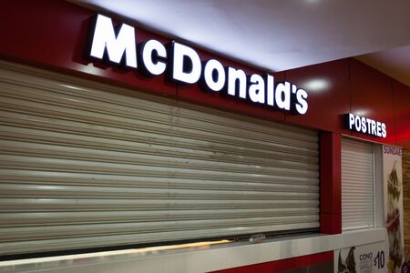 americas: MEXICO, CANCUN - DECEMBER 31, 2014: Shopping Mall Plaza Las Americas in Cancun city. McDonalds restaurant is closed for xmas holidays.