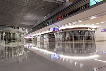 car park interior: Hong Kong International Airport - 16 October 2012: Information board sign inside Airport Editorial