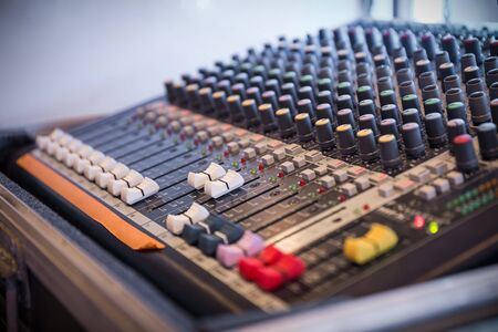 fader: Sound mixer control panel, closeup of audio faders Stock Photo