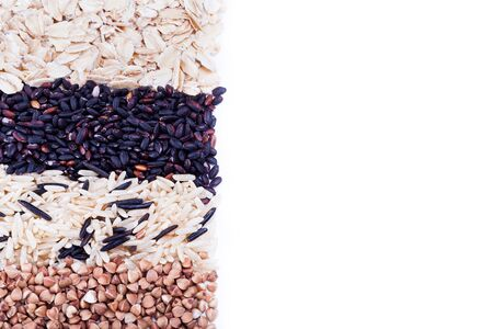 carbohydrates: Low carbohydrates in assortment, oat, rice and buckwheat  top view, selective focus. Healthy food concept