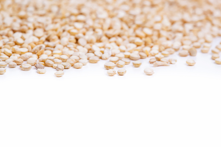 protein source: Seeds of uncooked quinoa, source of protein for vegetarians. Macro Background