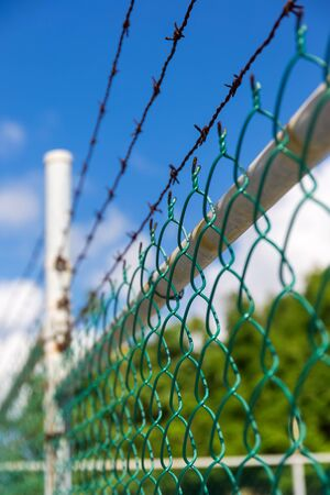 barbed wire fence: Barbed wire metallic fence, outdoors