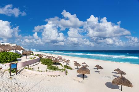 yucatan: Beautiful beach in Cancun, Mexico - Playa Delfines Stock Photo