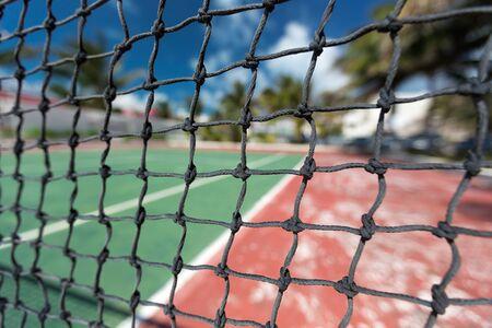 Tennis net, outdoor at empty court. Macro shot. Background Stock Photo