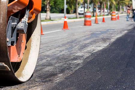 steamroller: Steamroller during road construction. Asphalt pavement works