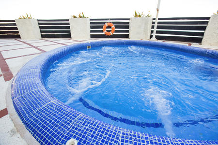 Jacuzzi at terrace. Nobody. Outdoors