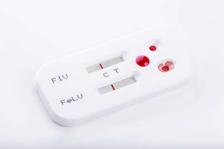 Blood testing virus kit on white. Healthy care concept Stock Photo