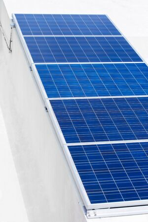 photocell: Solar plates for clean electricity power. Outdoors in a row
