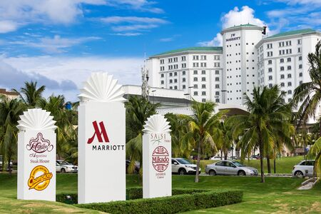 Cancun, Mexico - 12 January 2015: JW Marriott Cancun Resort and Spa sign at the entrence Editorial