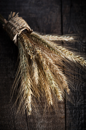 Ears of golden wheat on rustic wooden background