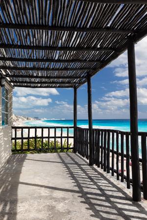 Tropical wooden terrace near caribbean sea shore Stock Photo