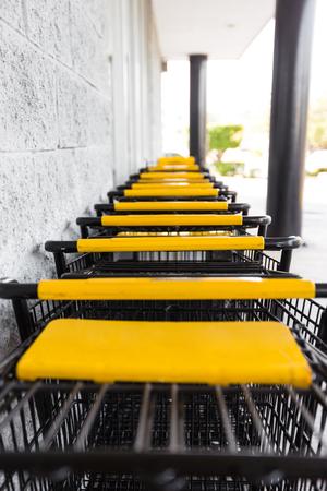 pushcart: Shopping carts near supermarket, outdoors