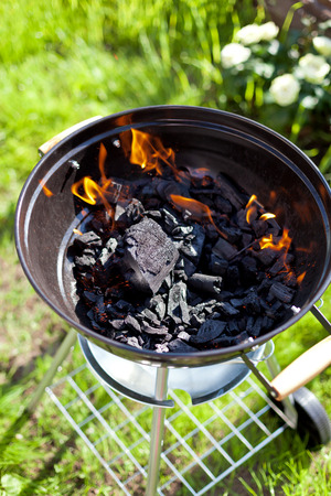 burnt out: Hot burning charcoal, grill on fire Stock Photo