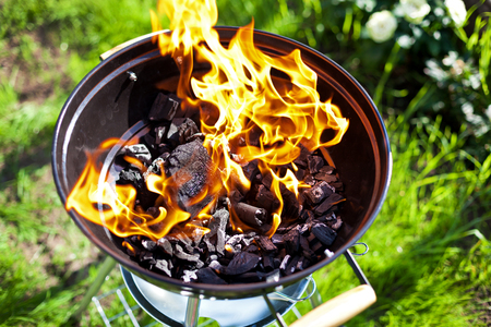 Hot burning charcoal, grill on fire Stock Photo