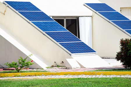Solar plates for clean electricity power. Outdoors in a row