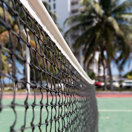 Outdoor tennis net at court with nobody, closeup Stock Photo