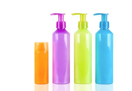 Multicoloured neon lotion bottles with dispenser pump