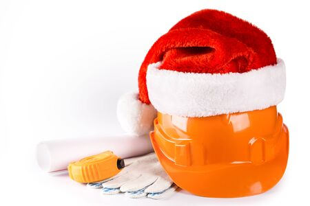 Christmas celebration. New Year seasonal sale on construction service