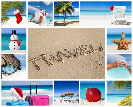 Collage with christmas and new year celebration on beach images