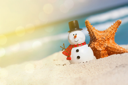 New Year and Christmas card. Snowman toy on beach close to sea stars, travel concept Stock Photo