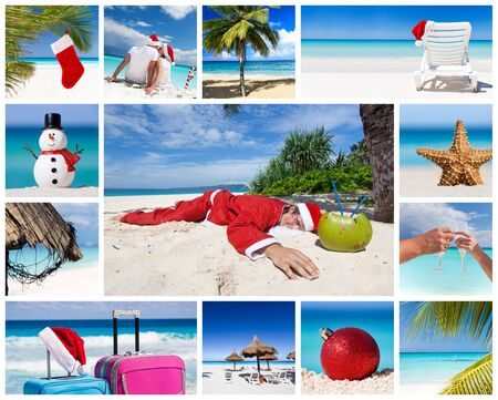 Collage with images of christmas and new year celebration on tropical beach  photo