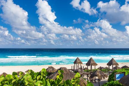 Beautiful beach in Cancun, Mexico - Playa Delfines Stock Photo
