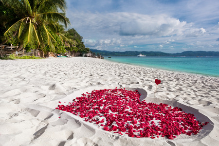 Heart of roses petals on sandy beach with tropical sky copyspace, nobody. Happy Valentines day concept, exotic greeting card