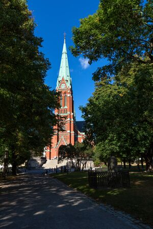 gothic revival: Saint Johannes Church building exterior in Stockholm, Sweden Stock Photo