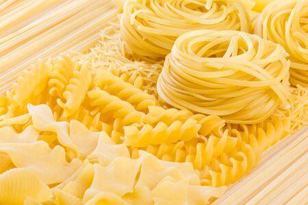rotini: Assortment of different kinds of Italian pasta. Closeup Stock Photo