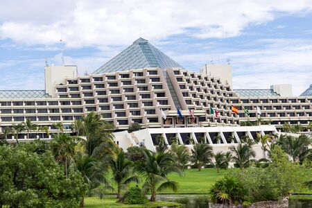 Cancun, Mexico - 12 January 2015:  The Pyramid at Grand Oasis building at Hotel zone Editorial