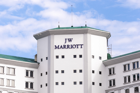 hotel building: Cancun, Mexico - 12 January 2015: JW Marriott Cancun Resort and Spa building