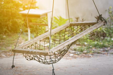 Local Maldivian seats hanging on tree, nobody 写真素材