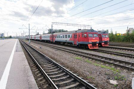Russia, Saint Petersburg - 14 September 2016: Passenger train at Ladozhsky railway station Editorial