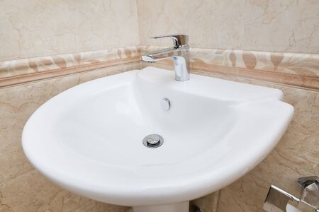 Faucet mixer for water in bathroom Stock Photo